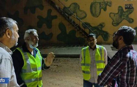 شارف رجال فرق الصيانة بمستودع طرابلس النفطي من الإنتهاء من عمليات الصيانة للخزان رقم 123 أحد الخزانات الذي طاله التدمير أثناء الأشتباكات المسلحة و من المتوقع أن يدخل